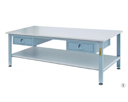 banco lavoro con piana antigraffio, piedi regolabili, cassetti o cassettiera.